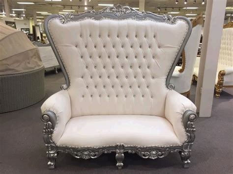 throne loveseat ivory w silver trim rentals new orleans