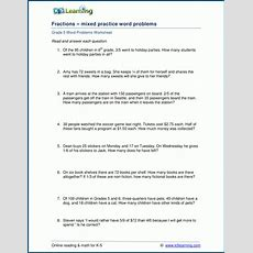 Mixed Fraction Word Problems For Grade 5  K5 Learning