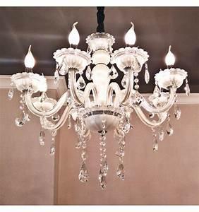 Lustre Pampilles Cristal : lustre pampilles blanc 8 bras baroque roma ~ Teatrodelosmanantiales.com Idées de Décoration
