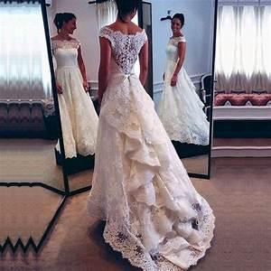 Designer White Scoop Mermaid Lace Vintage Wedding Dress Bridal Gowns