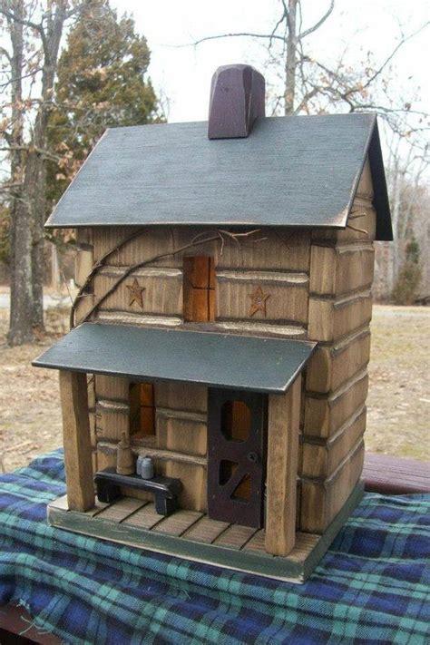 Log Cabin Primitive Birdhouse Rustic