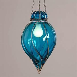 Blue glass venetian pendant midcentury