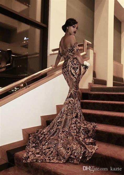 2017 New Luxury Gold Black Prom Dresses Mermaid Off