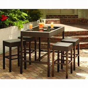 hampton bay tacana 5 piece patio high bar dining set With home depot high top patio furniture