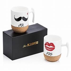 Tasse Mr Mrs : love kankei mr mrs tasse caf en porcelaine avec le si ge en bois cadeau no l cadeau mariage ~ Teatrodelosmanantiales.com Idées de Décoration