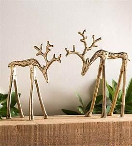 Modern, Brass, Reindeer, D, U00e9cor, Set, Of, 2