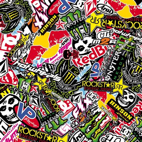 siege exterieur sticker bombing sticker bomb energy redbull rockstar