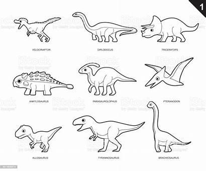 Dinosaur Coloring Cartoon Vector Pages Allosaurus Illustration