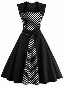 Vintage Dresses   Black Polka Dot Flare Semi Formal Dress - Gamiss