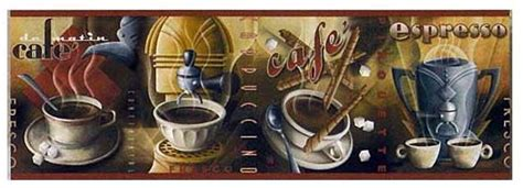 coffee house french wallpaper border  roll kitchen
