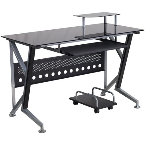 computer desk with pullout keyboard tray black glass computer desk with pull out keyboard tray and