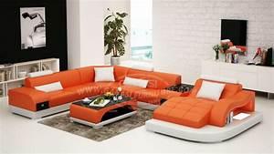 Canapé Cuir Moderne : canape d angle arrondi cuir survl com ~ Teatrodelosmanantiales.com Idées de Décoration