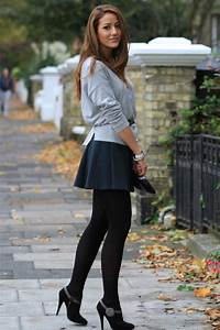 I love short skirts with leggings little heeled boots and loose tops. Me