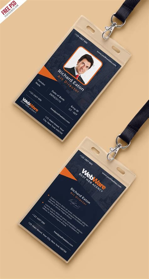 vertical company identity card template psd identity