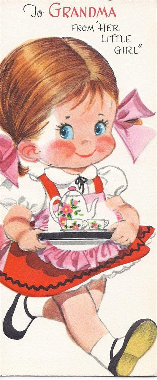 vintage motherss day greeting card  grandma teatime