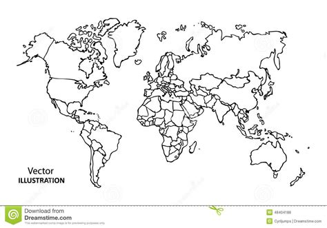 hand drawing world map  countries stock vector