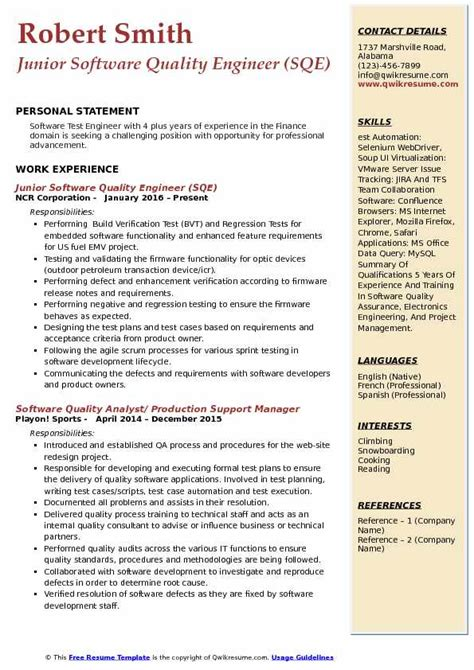 Resume Format For Quality Engineer by Software Quality Engineer Resume Sles Qwikresume
