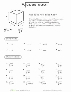 cube root worksheet education