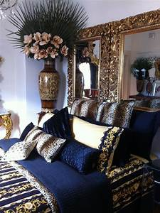 Navy Blue Gold White Bedroom Designs