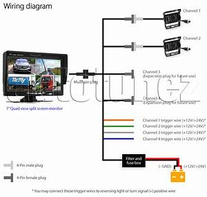 7 U0026quot  Split Screen Monitor 24v 12v 2 Ccd Reversing Camera 4pin System Kit Caravan