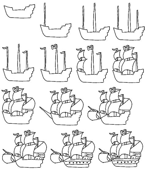 How To Draw A Pirate Boat by Learn To Draw A Pirate Ship Step By Step