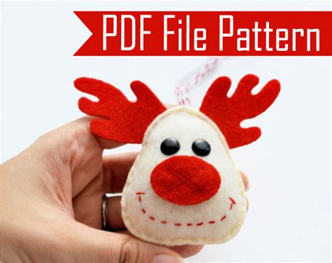 holiday reindeer christmas ornament sewing pattern pdf