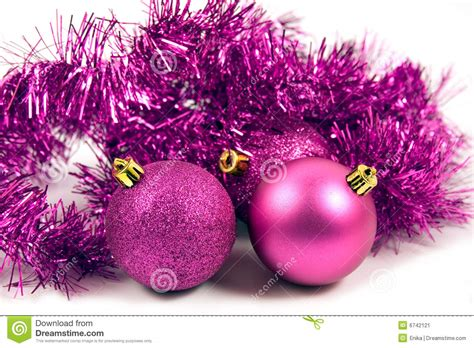 lilac christmas decoration on a white background stock