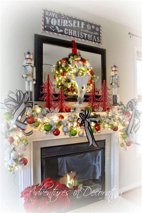 christmas mantels mantels  black framed mirror