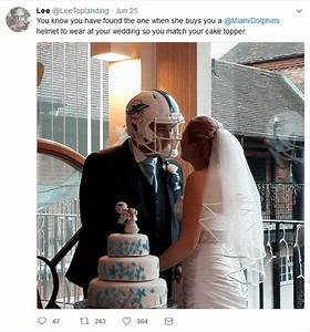 miami dolphins super fan wears team helmet during his wedding With marquee letter rental miami