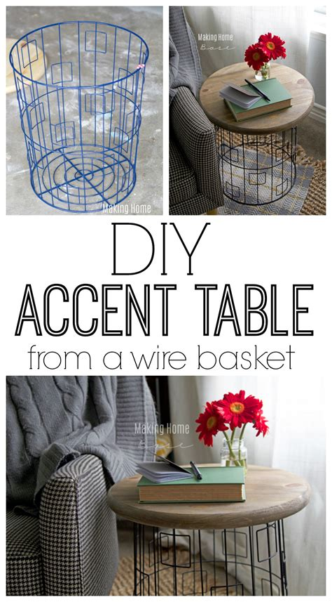 accent table with baskets diy accent table from a wire laundry basket sprays love