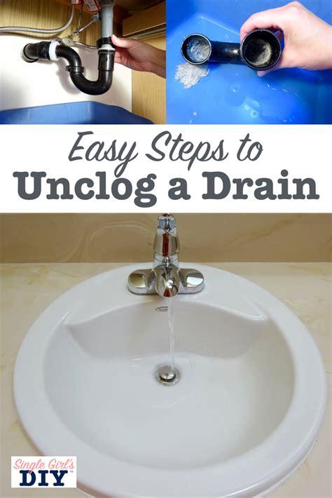 clear  clogged sink drain single girls diy