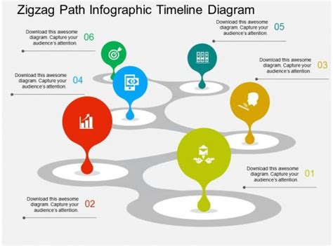 zigzag path infographic timeline diagram flat powerpoint