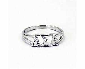 alpha sigma alpha greek letter ring with diamonds With greek letter rings