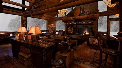 Fireplace Winter Cabin Cozy Snow Fire Crackling