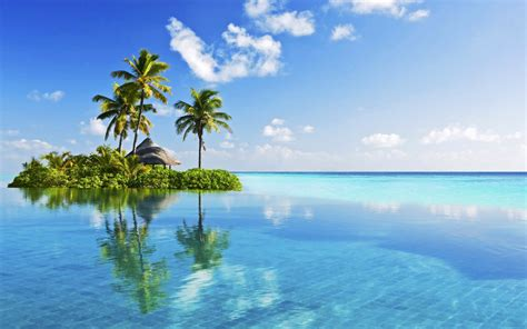 little tropical island in blue wallpapers little