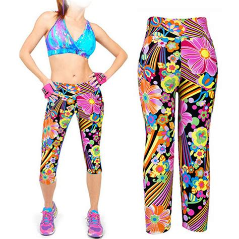 Womens Capris Leggings High Waisted Floral Printed Yoga