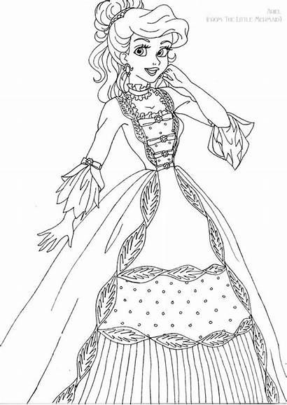 Coloring Disney Pages Ariel Deviantart Printable Gown