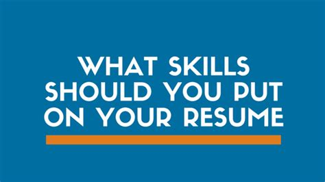 What Should You Put On Your Resume by List Of Skills To Put On A Resume Exles Included