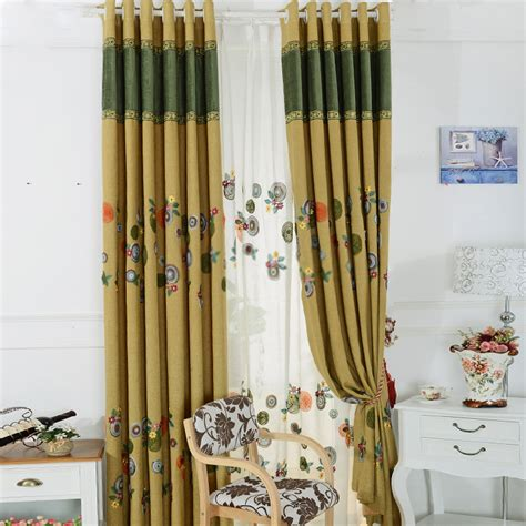 Yellow Bedroom Curtains by Modern Embroidery Linen And Cotton Yellow Bedroom Curtains