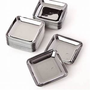Small Silver Plastic Appetizer Plates - Kitchen Utensils