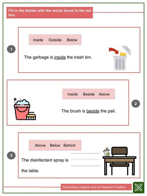 describing objects  relative position worksheets
