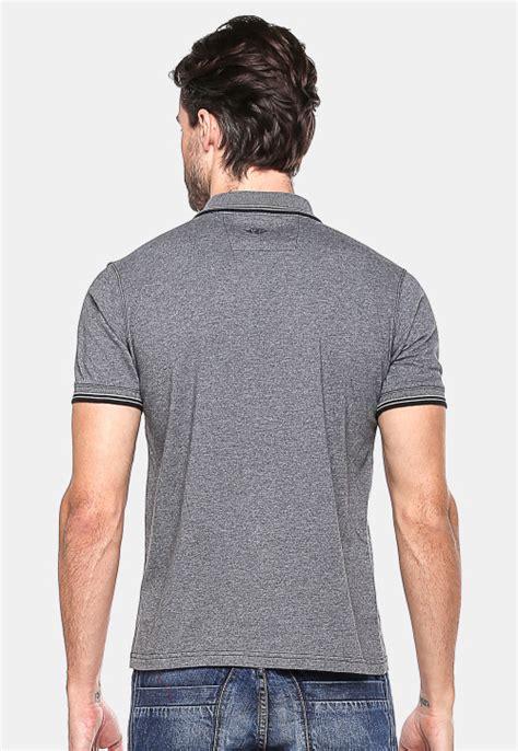 Kaos New York Abu Slim slim fit kaos polo abu gelap garis hitam putih