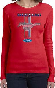 Buy Cool Shirts Ladies Ford Mustang T-shirt Stripe Long Sleeve   eBay