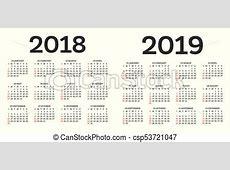 Calendar 2018 2019 isolated on white background week
