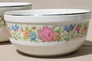 1930s vintage harker hotoven pottery nesting mixing bowls With what kind of paint to use on kitchen cabinets for crystal globe candle holder