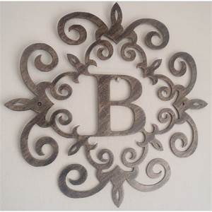 family initial monogram inside a metal scroll with b With monogram letter wall decor