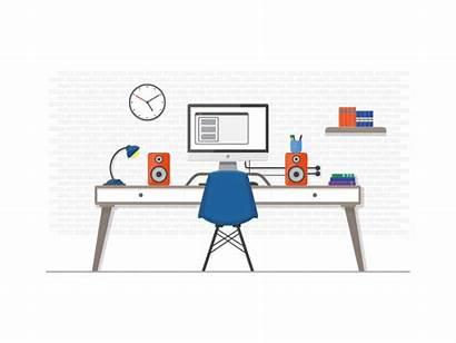 Desk Office Animation Illustration Clean Workspace Dribbble