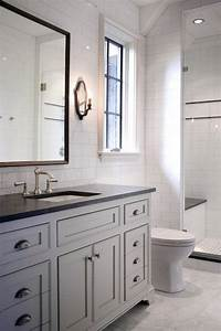 beautiful bathroom features full height subway tile With bathroom vanity backsplash height