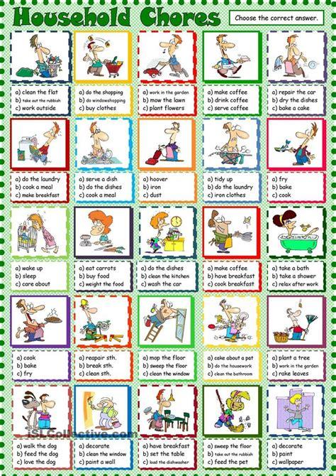 household chores esl printable worksheet   day  august    seni english