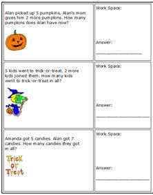 holloween math worksheets for kindergarten primary school